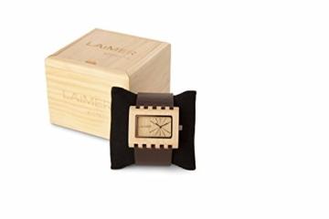 LAiMER Holzuhr 0024 | 100% Ahornholz | mit Lederband | Naturprodukt | Südtirol | -