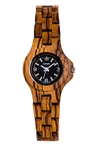 TENSE Womens Northwest Premium Holzuhr L4300Z - Natürliches Zebrano-Holz L4300Z -