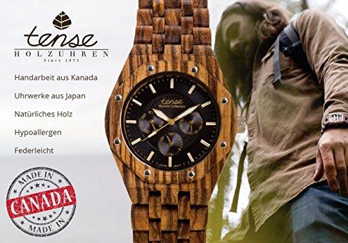 TENSE Womens Pacific Premium Holzuhr L7509Z - Natürliches Zebrano-Holz L7509Z -