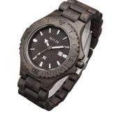 XLORDX Holzuhr Schwarz Bambus Datum Armbanduhr Herrenuhr aus Holz Freund Ehemann Geschenk Gift Watch -