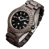 XLORDX Holzuhr Schwarz Datum Armbanduhr Herrenuhr aus Holz Freund Ehemann Geschenk Gift Watch -