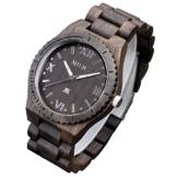 XLORDX Holzuhr Schwarz Roman Bambus Datum Armbanduhr Herrenuhr aus Holz Freund Ehemann Geschenk Gift Watch -