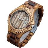 XLORDX Holzuhr ZebraHolz Braun Datum Armbanduhr Herrenuhr aus Holz Freund Ehemann Geschenk Gift Watch -