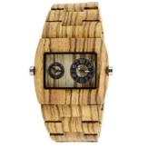 XLORDX Holzuhr ZebraHolz Braun Doppelzeit Armbanduhr Herrenuhr aus Holz Freund Ehemann Geschenk Gift Watch -