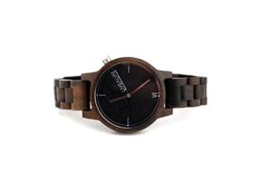 LIVE A LIFE SANDELHOLZ Holzuhr Chinnar black (schwarz) mit Schweizer Uhrwerk -