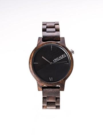 LIVEALIFE SANDELHOLZ Holzuhr Chinnar black (schwarz) mit Schweizer Uhrwerk -