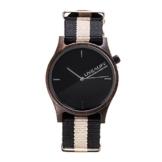 LIVEALIFE Unisex Holzuhr Armbanduhr Quarz Holz Uhrwerk Wechselband Nylon schwarz braun minmalistisches Design silber Damen Herren 38mm Uhr -
