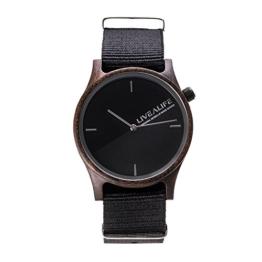 LIVEALIFE Unisex Holzuhr Quarz Uhrwerk Wechselband Nylon schwarz minmalistisches Design silber Damen Herren 38mm -