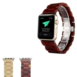 Sumgar Natur Holz Replacement Wrist Band mit Adapter Uhrenarmband für Apple iWatch Alle Modelle 42mm - Rosenholz -