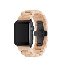 Woodcessories EcoStrap - Apple Watch 1 & 2 (42mm) Armband aus echtem Holz (Bambus/Schwarz) -