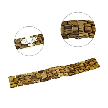 AIYIBEN Herren Holz Uhrenarmband 38mm kompatibel mit Apple Watch Alle Modelle (38MM, Zebra wood) - 2