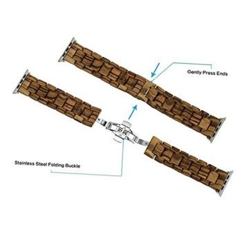 AIYIBEN Herren Holz Uhrenarmband 38mm kompatibel mit Apple Watch Alle Modelle (38MM, Zebra wood) - 3