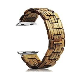 AIYIBEN Herren Holz Uhrenarmband 38mm kompatibel mit Apple Watch Alle Modelle (38MM, Zebra wood) - 1