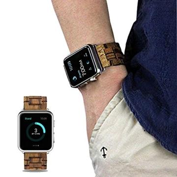 AIYIBEN Herren Holz Uhrenarmband 38mm kompatibel mit Apple Watch Alle Modelle (38MM, Zebra wood) - 7