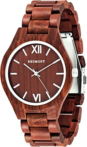 REDMONT Herrenuhr mit Holzarmband Analog Quarz Classic Collection Red Edition - 1