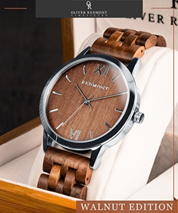 REDMONT Herrenuhr mit Holzarmband Analog Quarz Horizon Collection Walnut Edition - 3