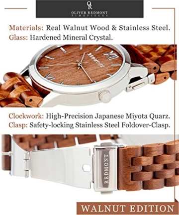 REDMONT Herrenuhr mit Holzarmband Analog Quarz Horizon Collection Walnut Edition - 6