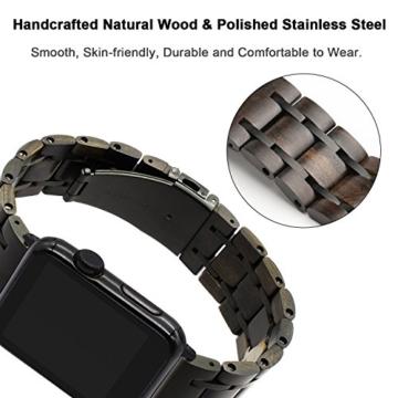 TRUMiRR Für Apple Watch 42mm Holz Armband, Natürliches Holz & Edelstahl Uhrenarmband Armband Ersatzarmband für iWatch 42mm Serie 3 2 1 Alle Modelle - 2