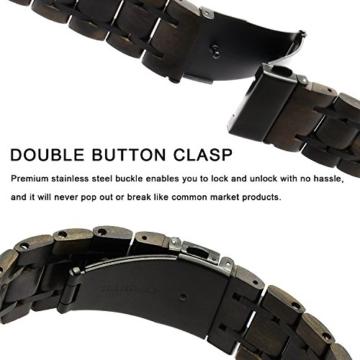 TRUMiRR Für Apple Watch 42mm Holz Armband, Natürliches Holz & Edelstahl Uhrenarmband Armband Ersatzarmband für iWatch 42mm Serie 3 2 1 Alle Modelle - 3