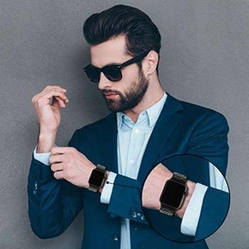TRUMiRR Für Apple Watch 42mm Holz Armband, Natürliches Holz & Edelstahl Uhrenarmband Armband Ersatzarmband für iWatch 42mm Serie 3 2 1 Alle Modelle - 4